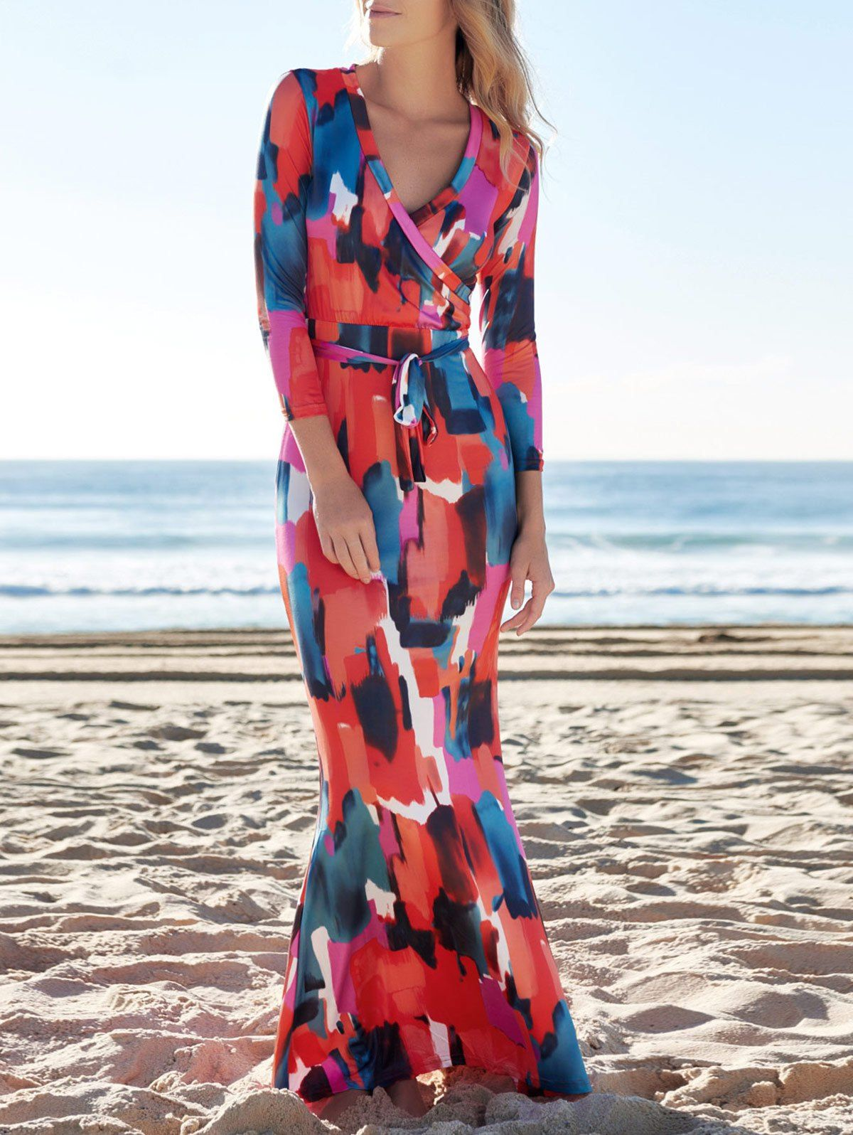 Chic Plunging Neck 3 4 Sleeve Geometric Pattern Maxi Dress For Women Maxi Dress Maxi Dress With Sleeves Maxi Dress Pattern