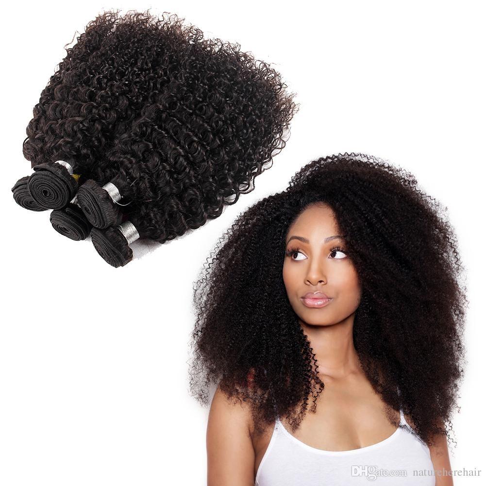 Hot Sale Brazilian Curly Virgin Hair Wefts 4 Bundles Natural Black