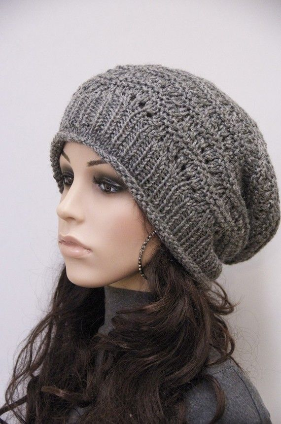 knit hat charcoal chunky wool hat slouchy hat wool hat
