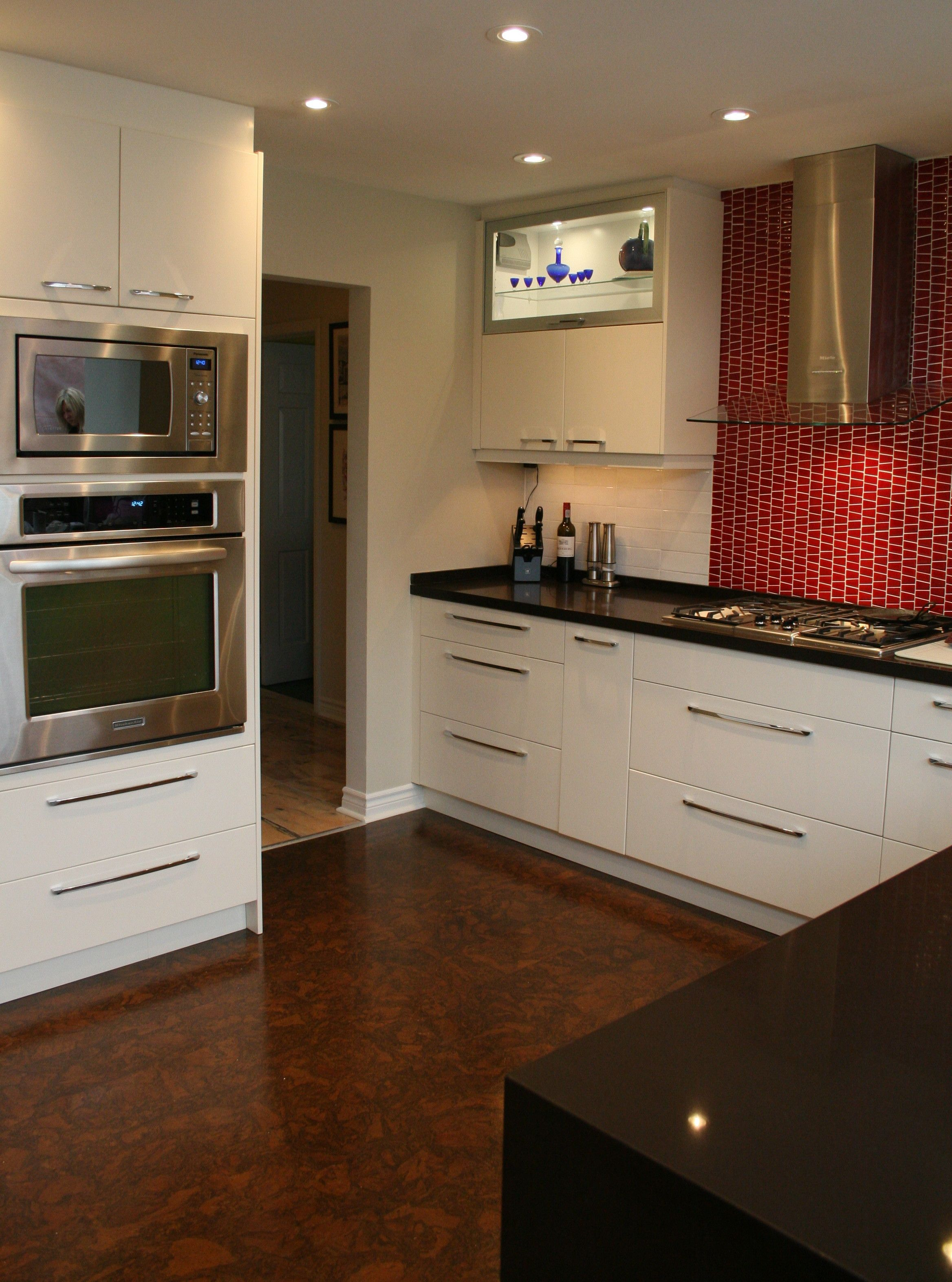 Kitchen - Cabinets from floor to ceiling in a light cream ...
