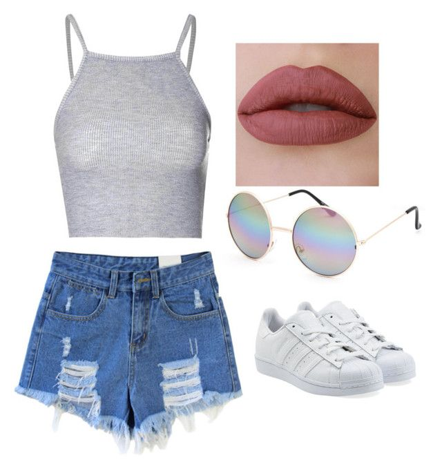 """Untitled #1"" by jadecoelhodantas ❤ liked on Polyvore featuring beauty, Glamorous, adidas Originals and Full Tilt"
