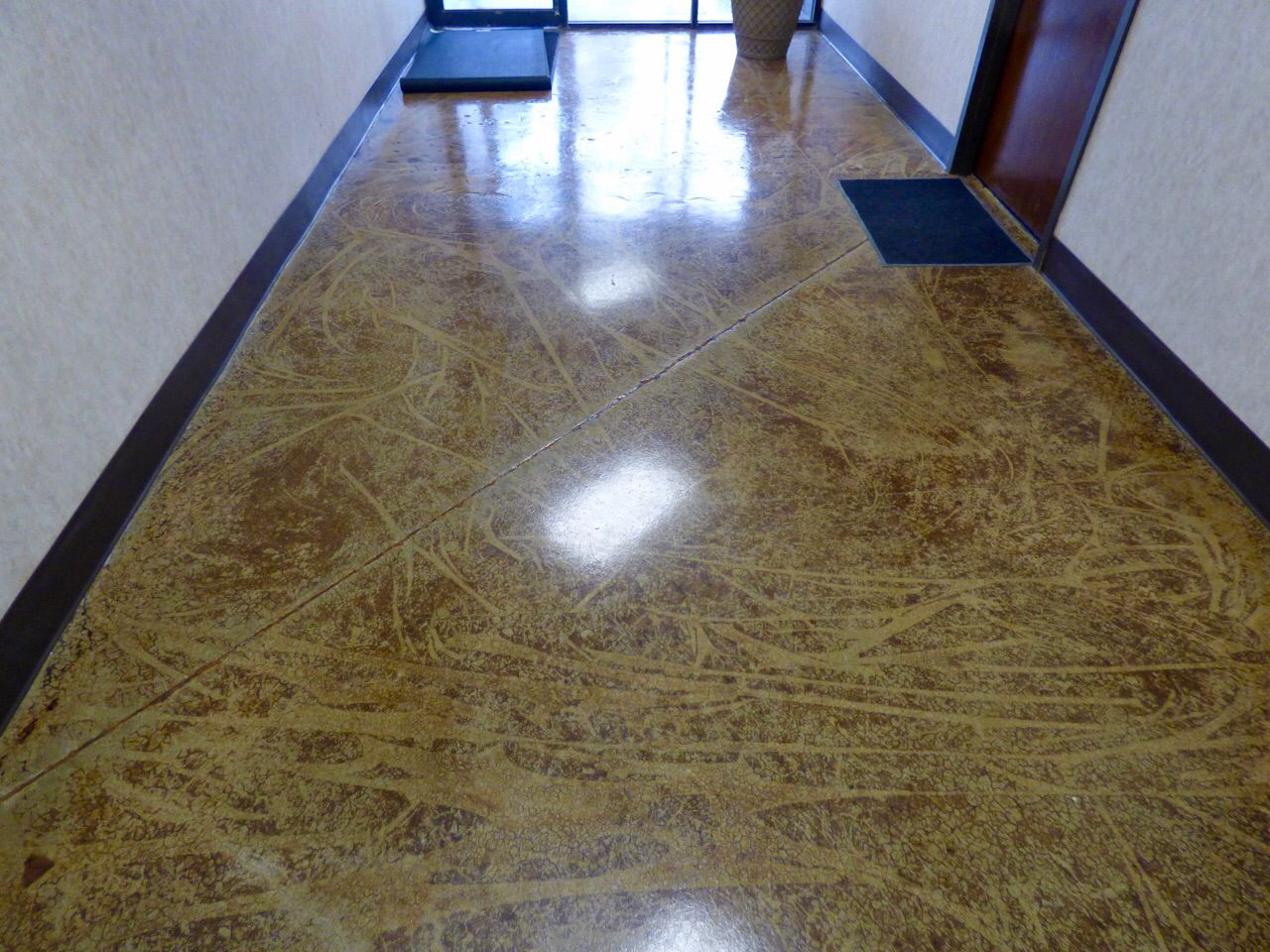 This Floor Was Covered In Carpet Glue Thin Set Tile And Grout