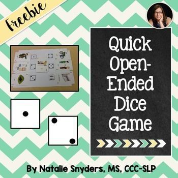 FREEBIE:  Quick open-ended dice game that can be used with any stimulus cards.  Great for speech-language therapy!