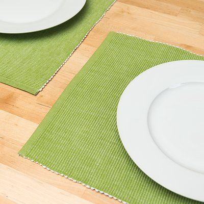 Andover Mills Knighton Cotton Ribbed Placemat Color: Valley Green