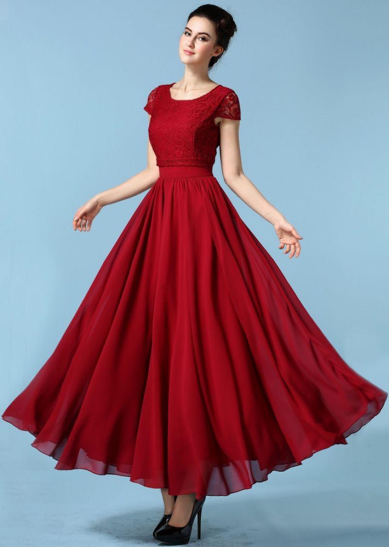 Wine Red Short Sleeve Lace Chiffon Dress Chiffon Maxi Dress Chiffon Lace Dress Chiffon Dress
