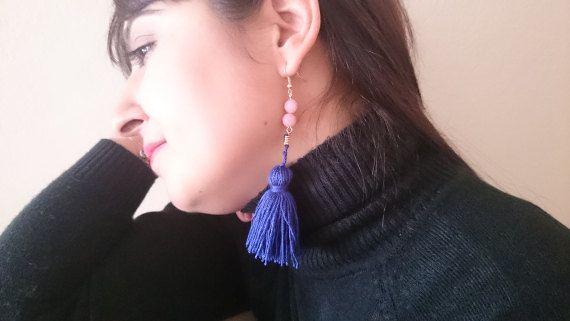 Rose Quartz beaded Dark Purple Tassel Earrings Gemstone Tassel Earrings Long Tassel Drop Earrings Dark Purple Silk Thread Tassel Gift (29.00 USD) by LTLDizaynDIY