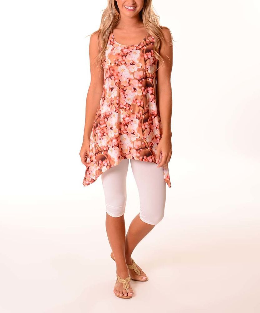 759e7c40e88be NWT Womens Plus  Lbisse  Ivory Blossom Floral Sidetail Sleeveless Tank Top  1X 18  Lbisse  TankCami