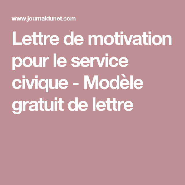 lettre de motivation pour le service civique