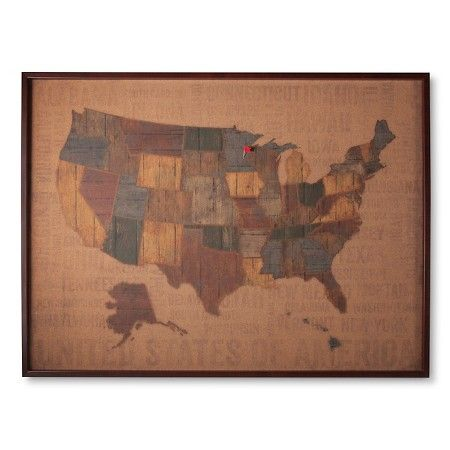 Cork Board US Map 30x40 Includes 15 Multicolor Flag Pins Target