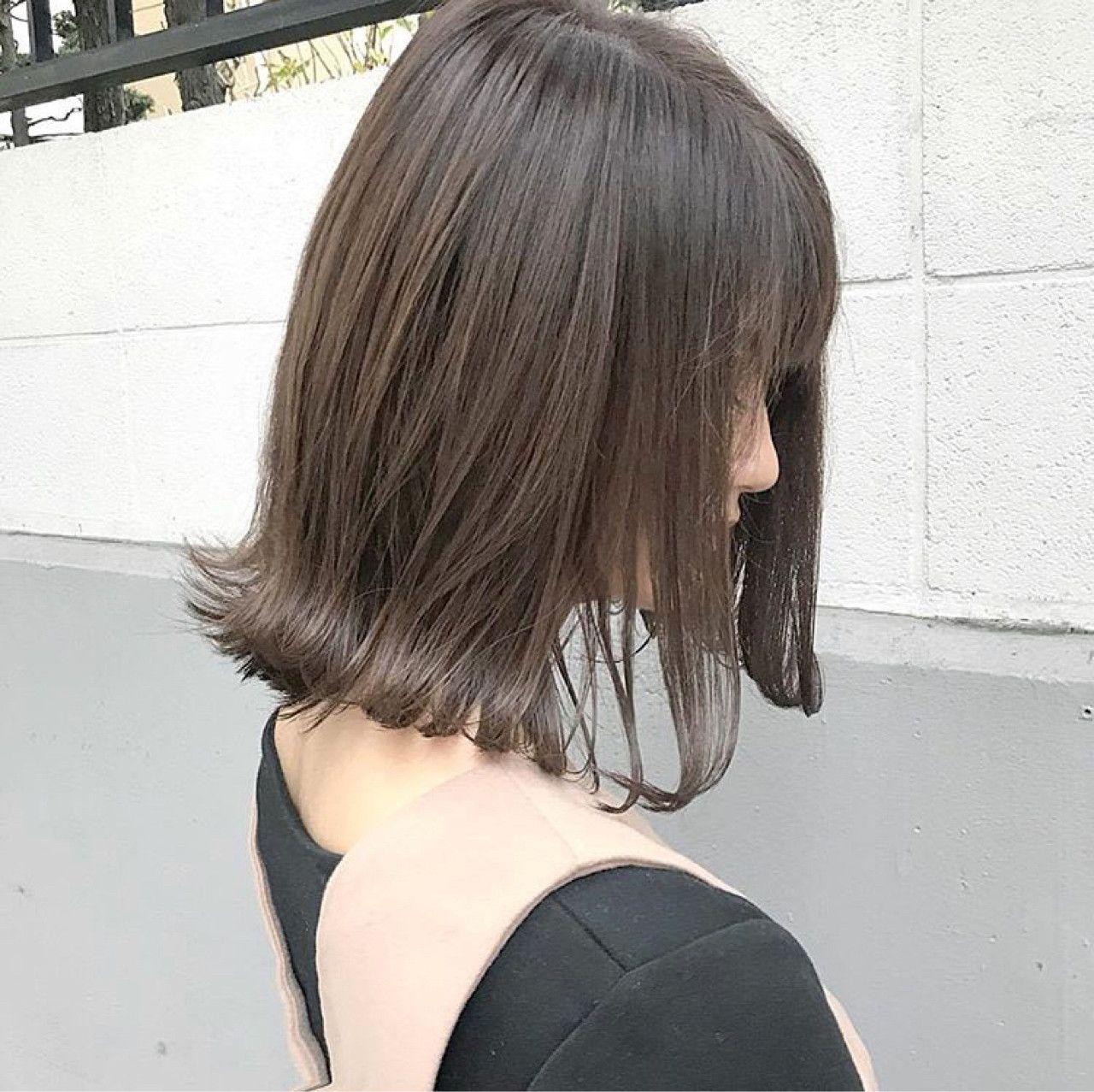 アッシュ ミディアム こなれ感 モード ヘアスタイルや髪型の写真 画像