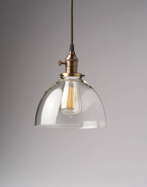 8 Large Glass Dome Pendant Light Fixture Clear Handblown Etsy Dome Pendant Lighting Pendant Light Fixtures Glass Pendant Lighting Kitchen