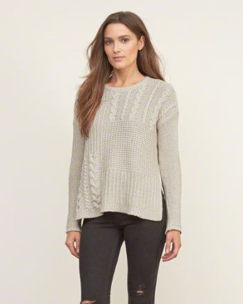 Womens Patchwork Cable Sweater