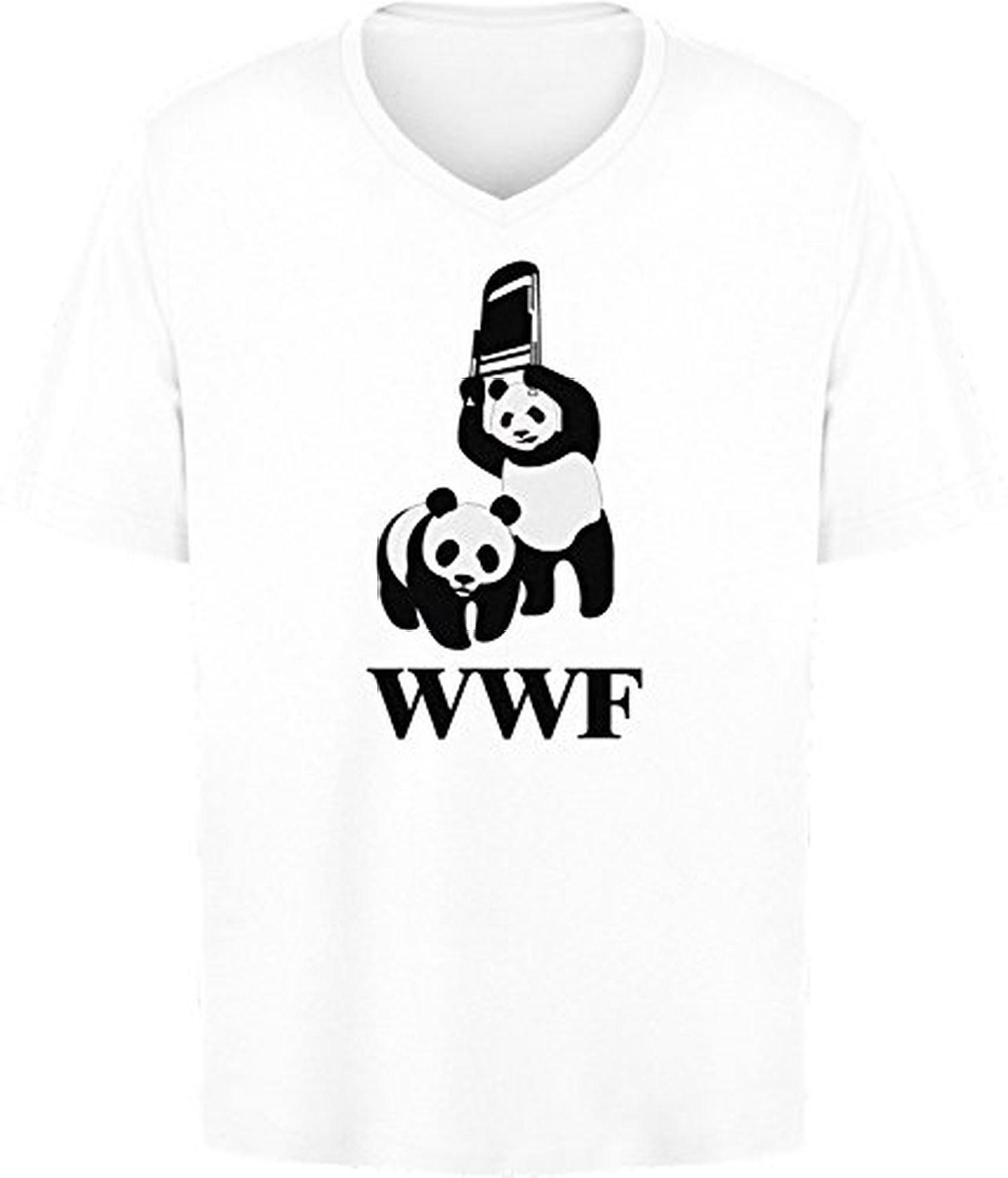 BSW Mens WWF WWE Panda Wrestling Chair VNeck SM White Brought – Wwf Chair