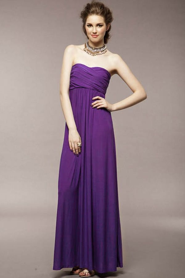 Elegant Ruched Strapless Maxi Dress - OASAP.com | Beauty Gowns ...