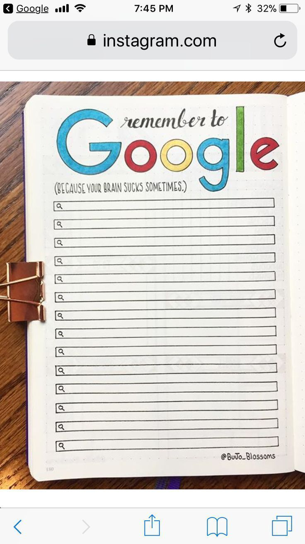 Photo of Denken Sie daran Google Bujo Collection #daran # denkt #google # collection Crea…
