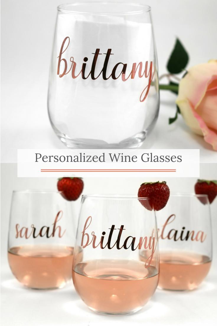 7e5e6889210 Beautiful rose gold personalized wine glasses. Makes such a cute gift idea!  Bridesmaid Tips