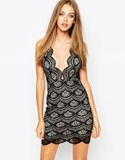Missguided Lace Plunge Neck Bodycon Dress