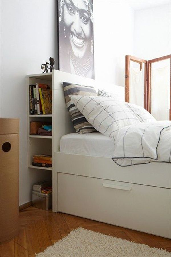 15 Ways To Save Space In Your Bedroom Headboard Storage Bedroom Storage Shelves In Bedroom