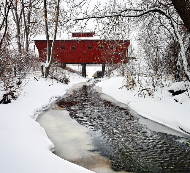 A Red Wooden Bridge Near Milton Janesville Wisconsin In