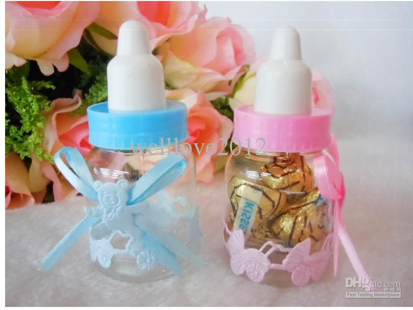 Wholesale Baby Shower Favors Little Bottle Baptism Gifts Candy Boxes  Feeding Bottle, Free Shipping,