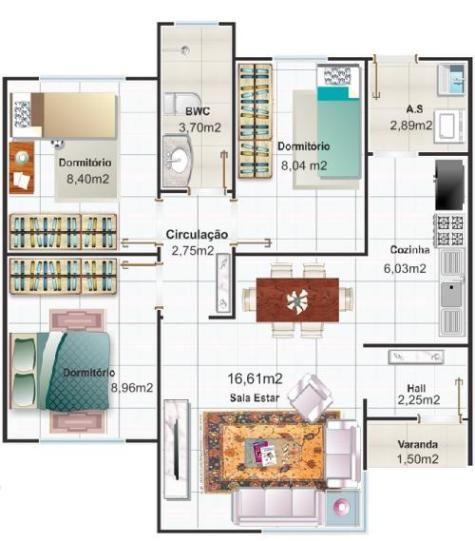 Plano de casa moderna y pequeña de tres dormitorios Bağ Evi
