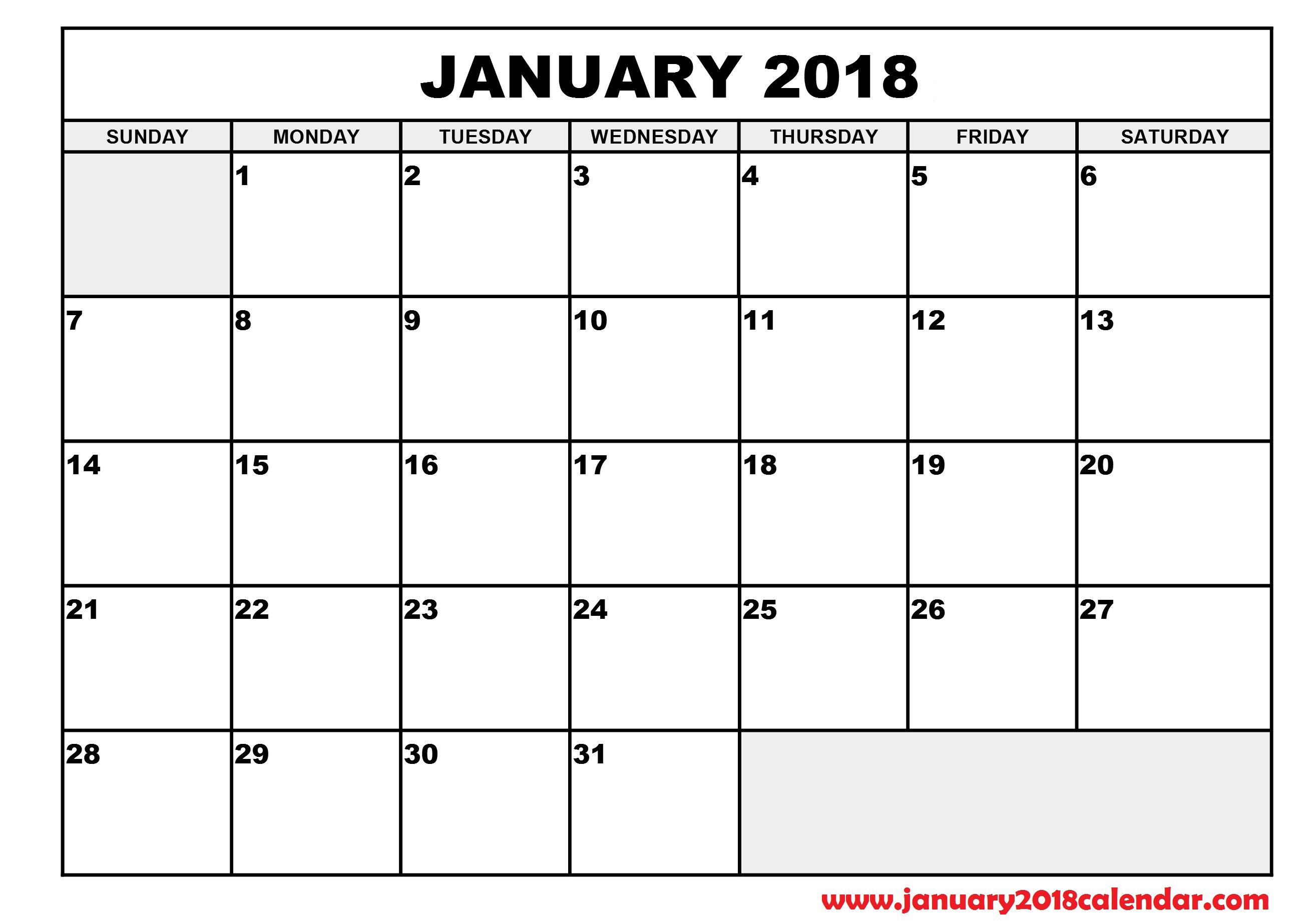 Calendar Planner 2018 Excel : January calendar excel