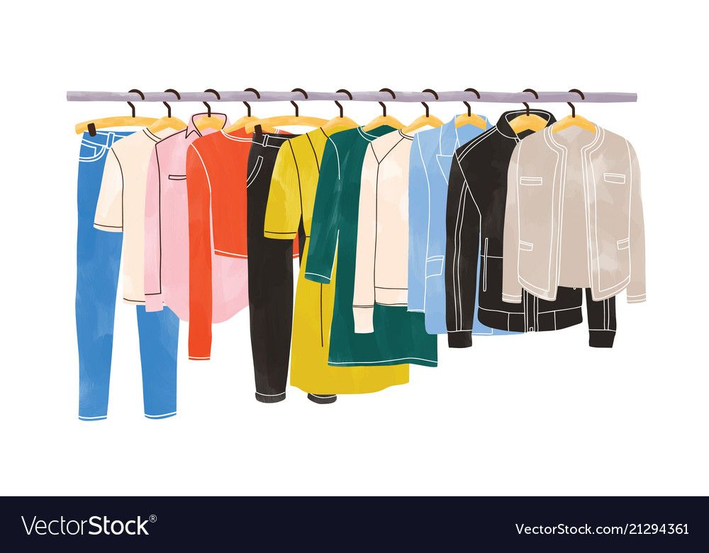 Colored clothes or apparel hanging on hangers on vector