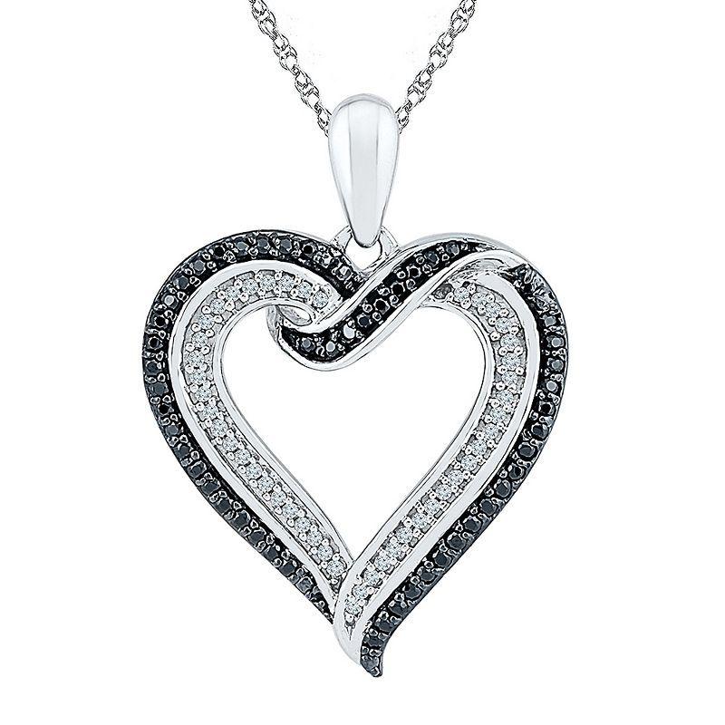 Womens 1 3 Ct T W Genuine Black Diamond Sterling Silver Pendant Necklace Silver Necklaces Women Sterling Silver Necklace Pendants Sterling Silver Pendants