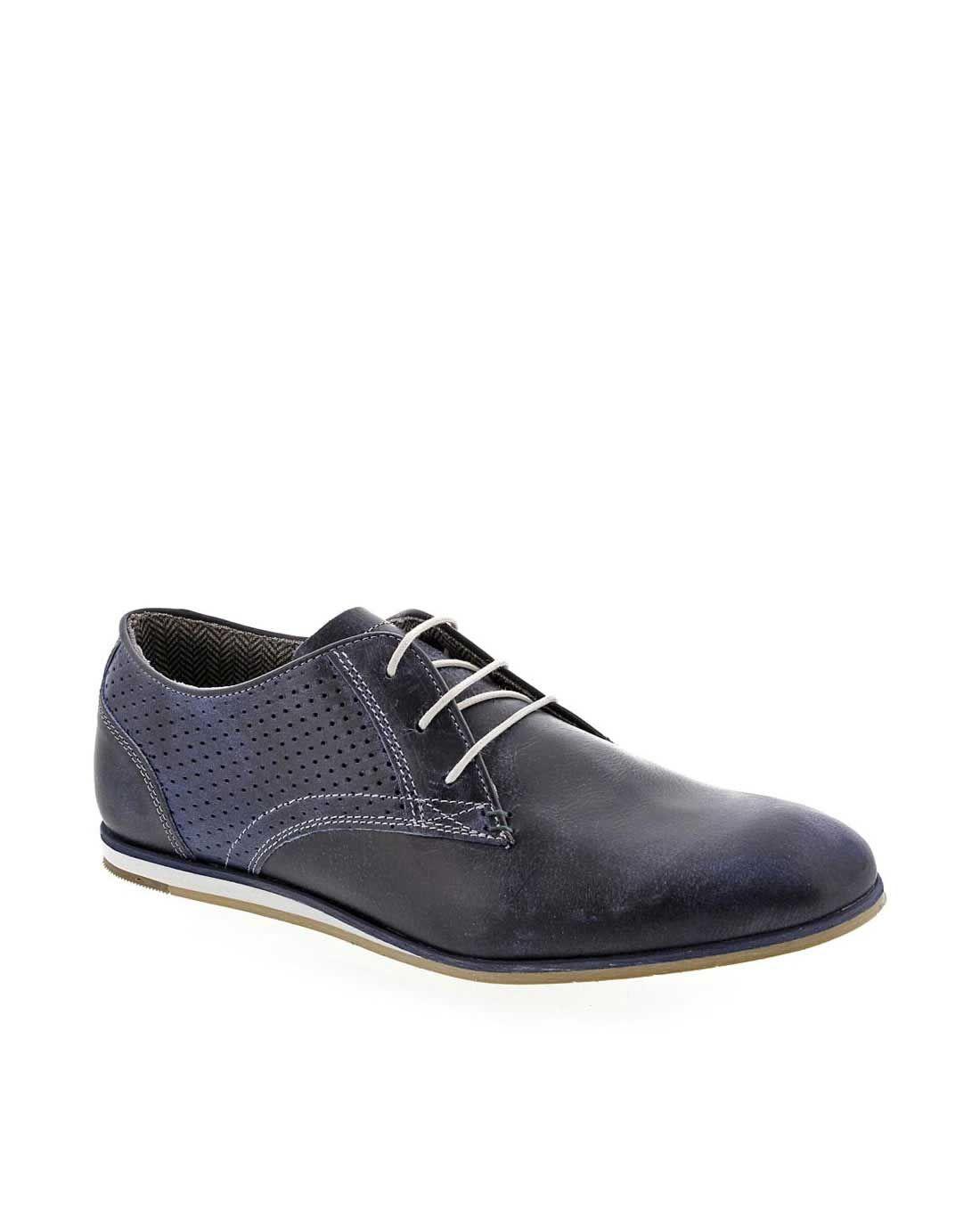 Zapatos de hombre de piel azules B2 401-K2-3939C
