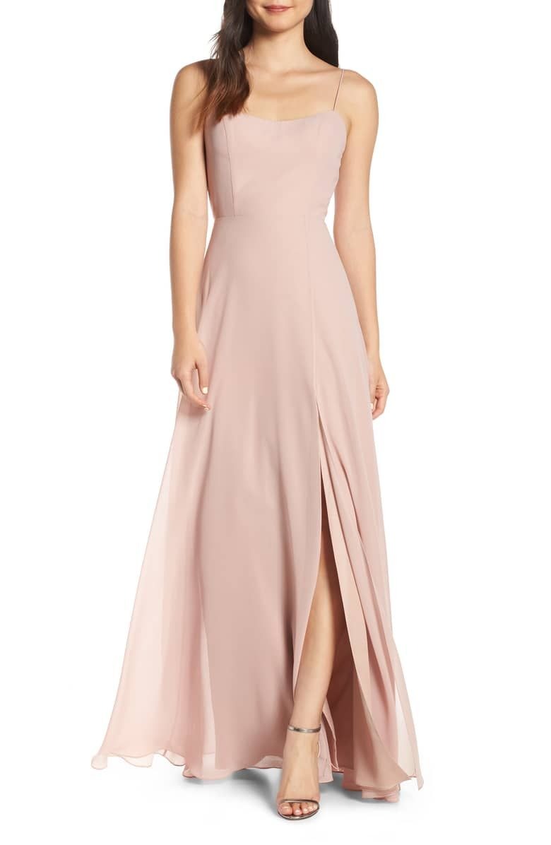 2976e12586b22 Kiara Bow Back Chiffon Evening Dress, Main, color, WHIPPED APRICOT ...