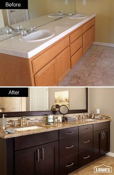 Custom cabinets in a dark chocolate finish paired with quartz countertops elevate this handsome master bathroom. A neutral wall color brings warmth and cohesion to complementary upgrades. This bathroom was designed and remodeled through Lowe's of Folsom, CA.