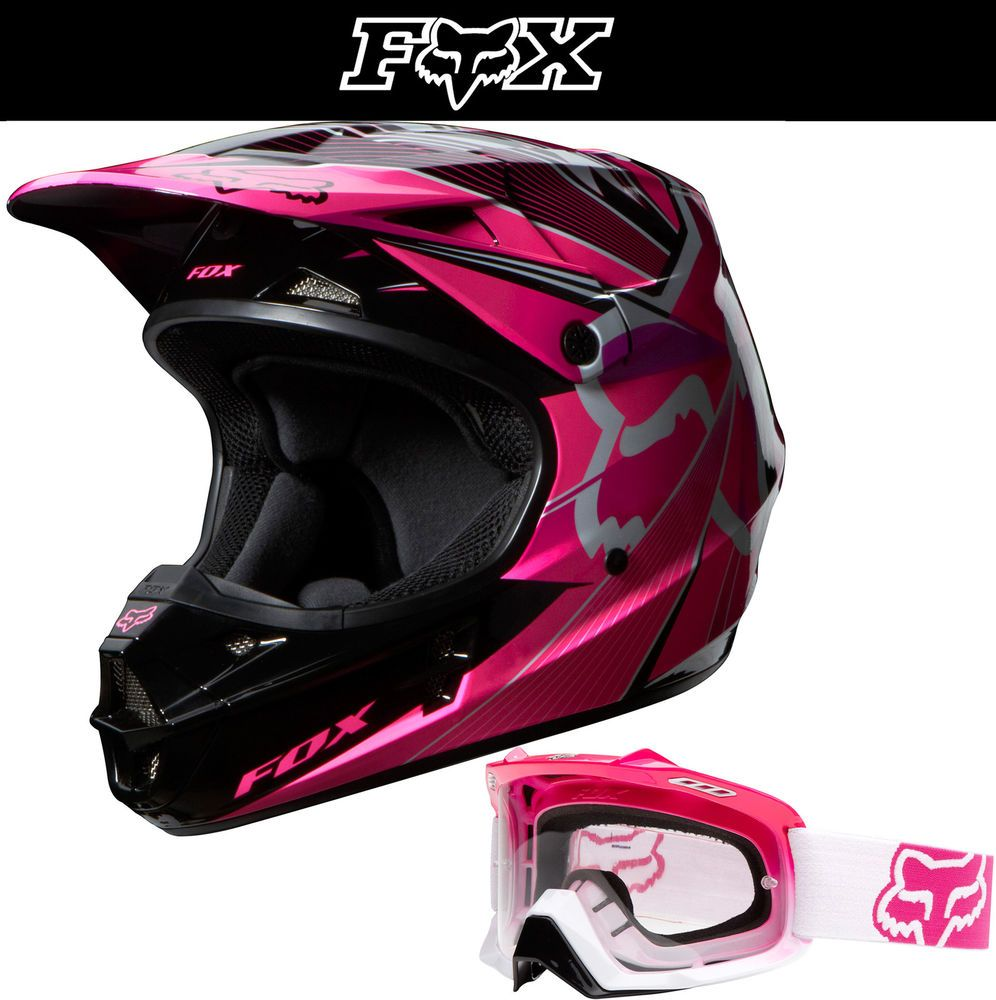fox racing v1 radeon pink black white dirt bike helmet w. Black Bedroom Furniture Sets. Home Design Ideas