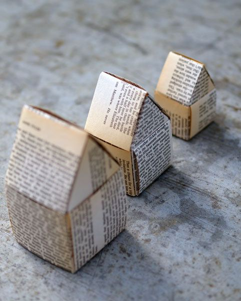 Paper Houses Recycled Book Pages by mischievo on Etsy