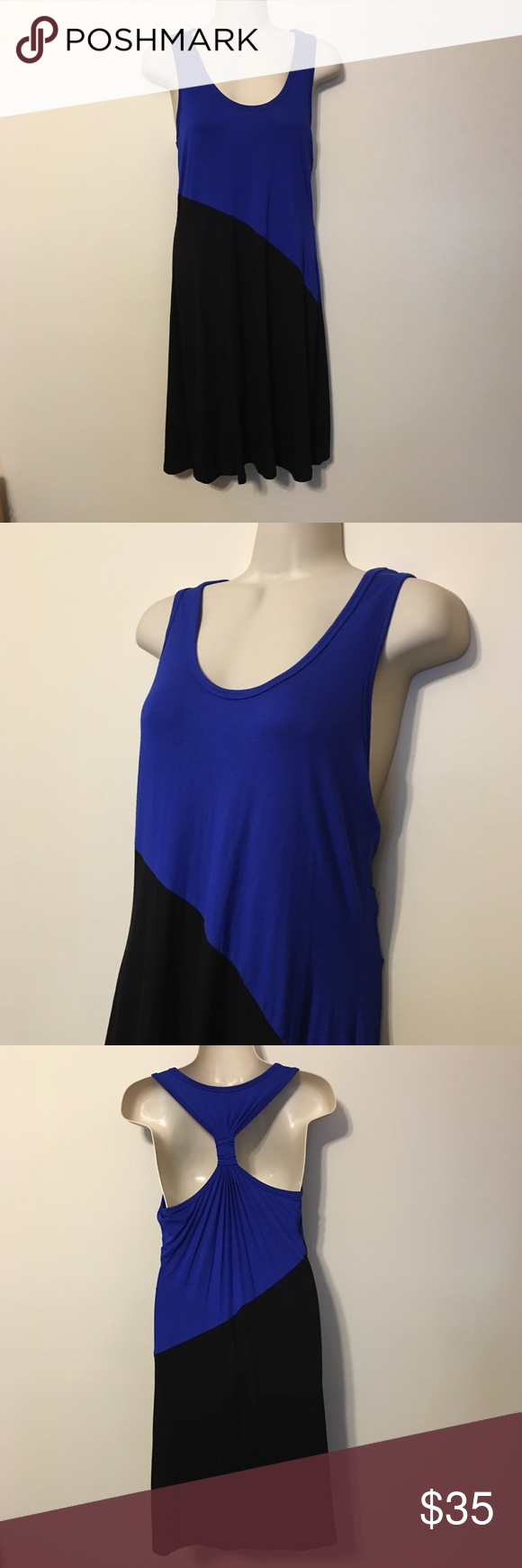 Calvin Klein Black & Blue Colorblock Dress Calvin Klein Black & Blue Colorblock Racerback Dress Calvin Klein Dresses Midi