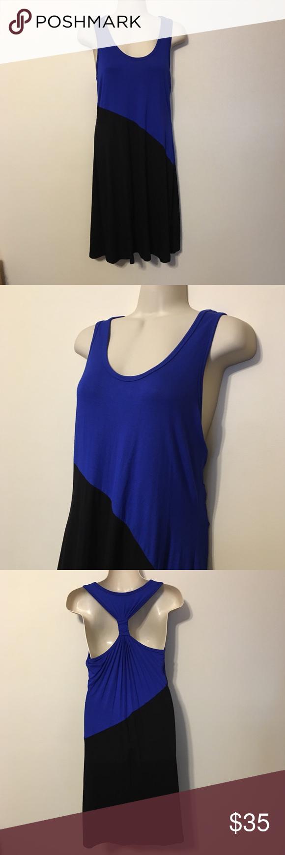 Calvin Klein Black & Blue Colorblock Dress Calvin Klein Black & Blue Colorblock Racerback Dress Calvin Klein Dresses Midi