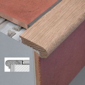 Wood Step Nosing Tile Stair Nosing Stair Nosing House Flooring | Tile To Wood Stair Transition | Builder Grade | Upstairs | Residential | Laminate | Entryway