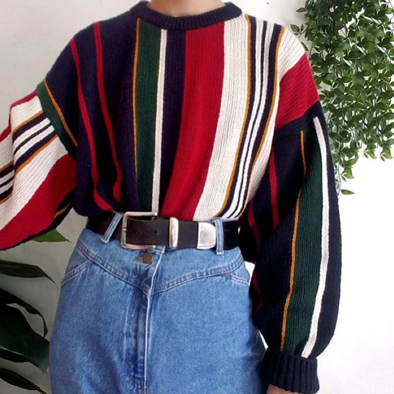 Fashion round neck color striped bubble sleeve sweater 2