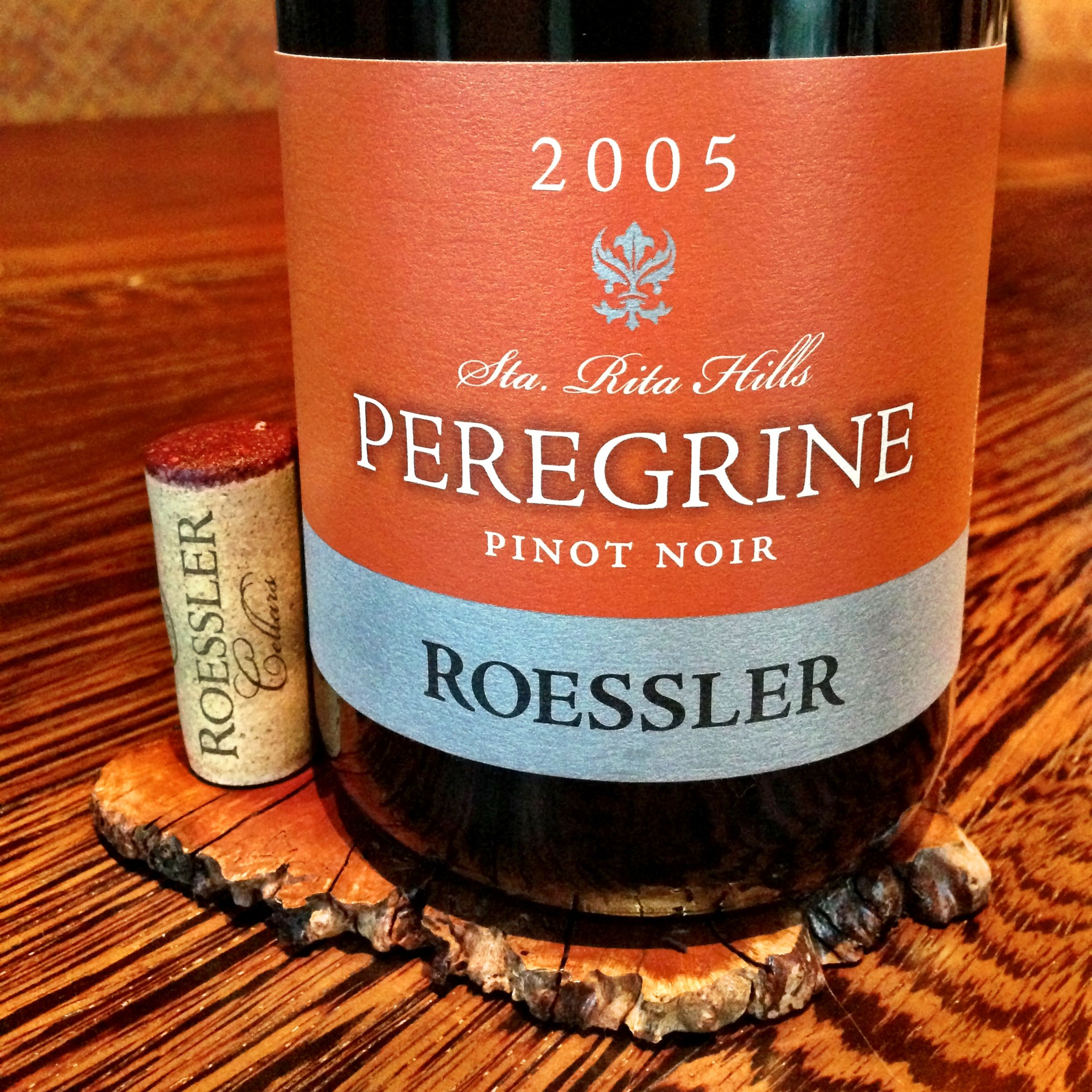 2005 Roessler Peregrine Pinot Noir Santa Rita Hills Light Yet Vibrant Red Violet Color Muted Nose Of High Toned Red Fruit With Pinot Wine Bottle Pinot Noir