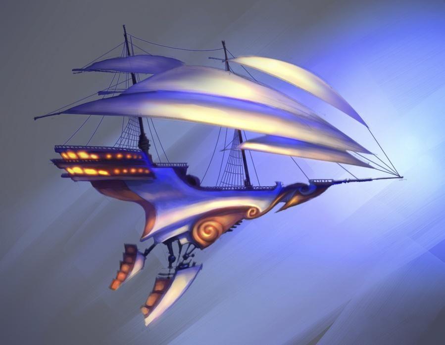 фэнтези картинки парусные корабли в космосе сделать приятный необычный