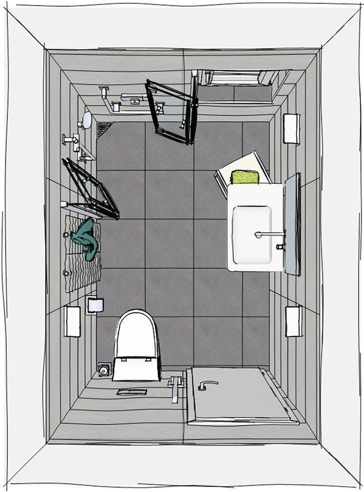 Grundriss kleines Badezimmer mit wegfaltbarer Dusche