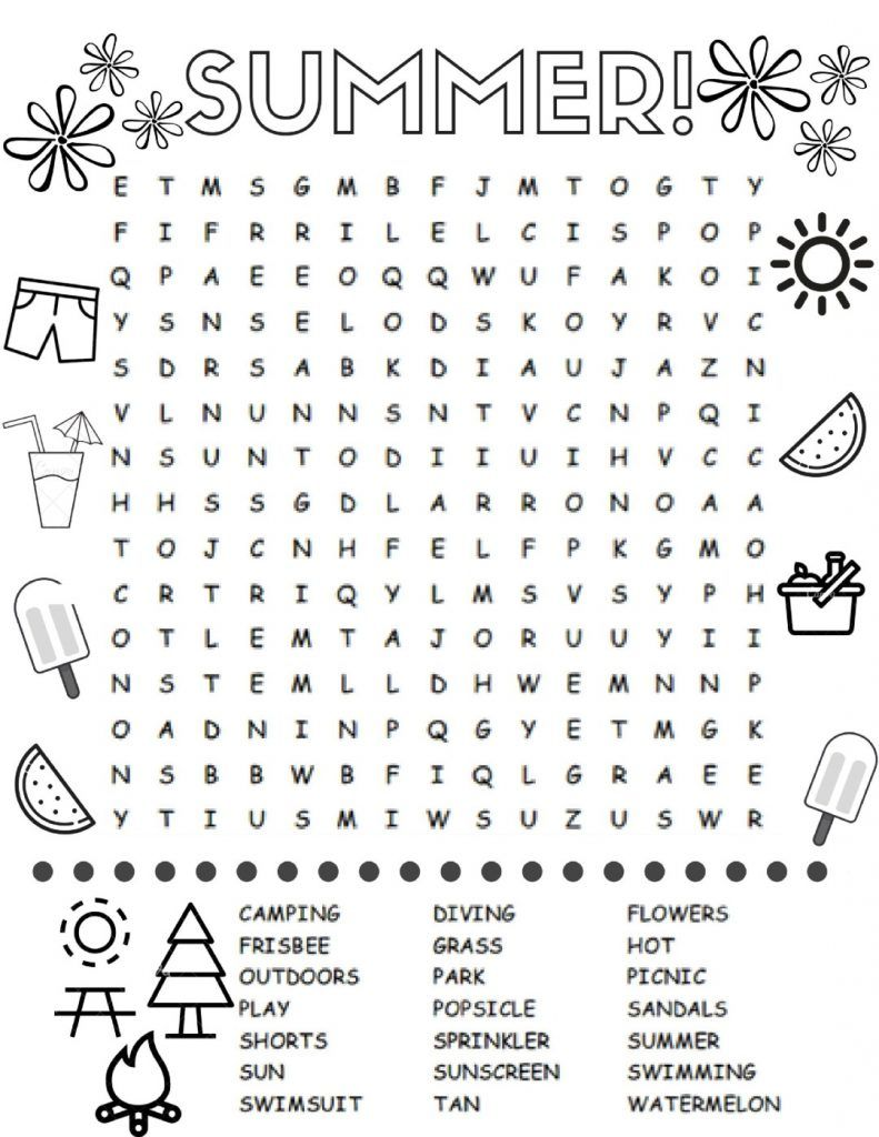 Summer Word Search Summer Words Fun Worksheets For Kids Word