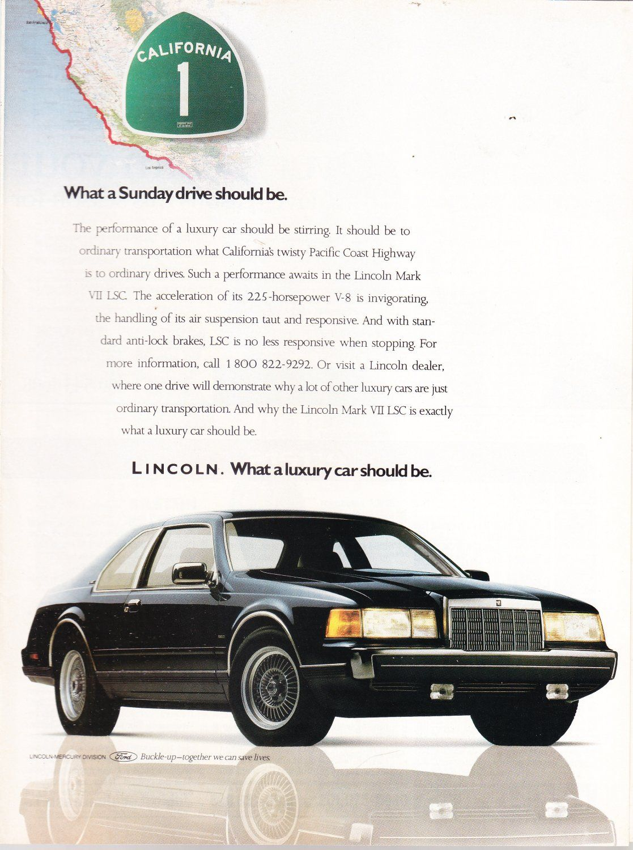 1988 Lincoln Sales Brochure Continental Mark VII LSC Town Car