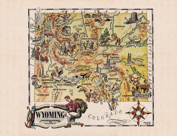 Vintage pictorial map of Wyoming by Jacques Liozu in 1946