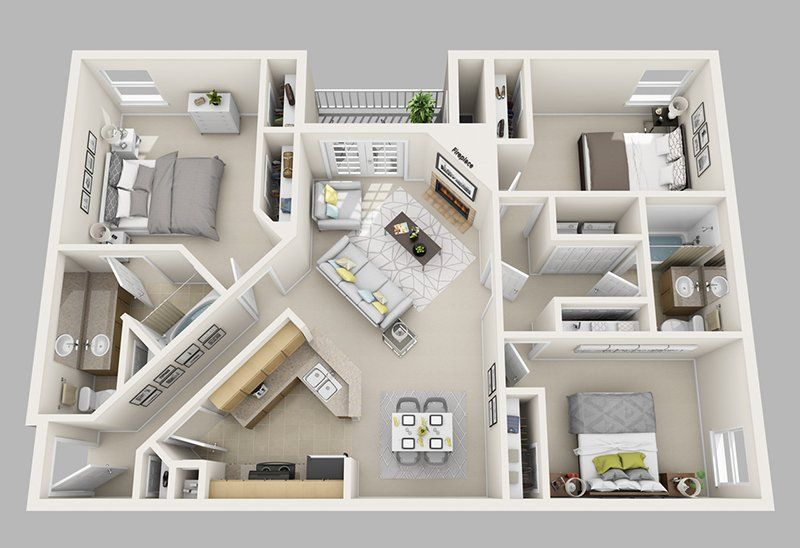 20 Designs Ideas For 3d Apartment Or One Storey Three Bedroom Floor Plans Home Design Lover Three Bedroom House Plan Apartment Layout House Layout Plans