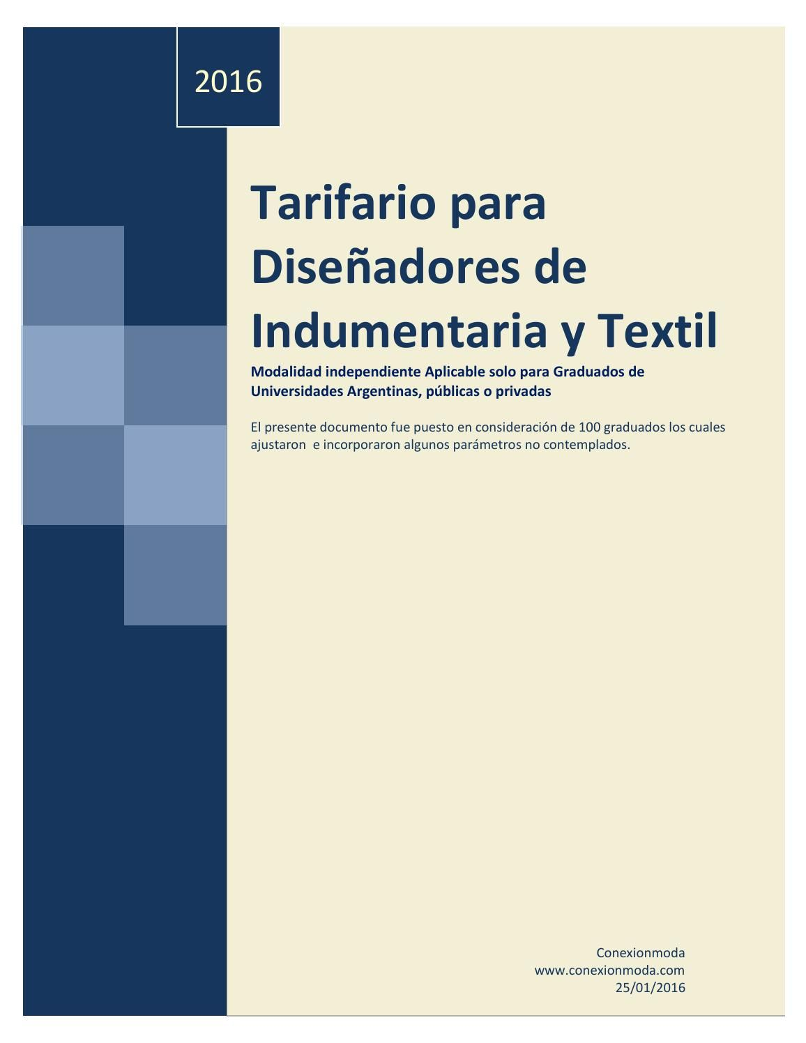 Tarifario para diseñadores de indumentaria y textil 16 | libros ...