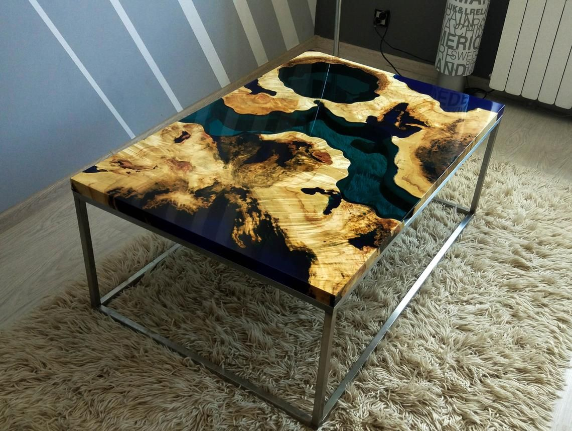 Sold Live Edge River Coffee Table With Blue Epoxy Sold Coffee Table Live Edge Burled Wood