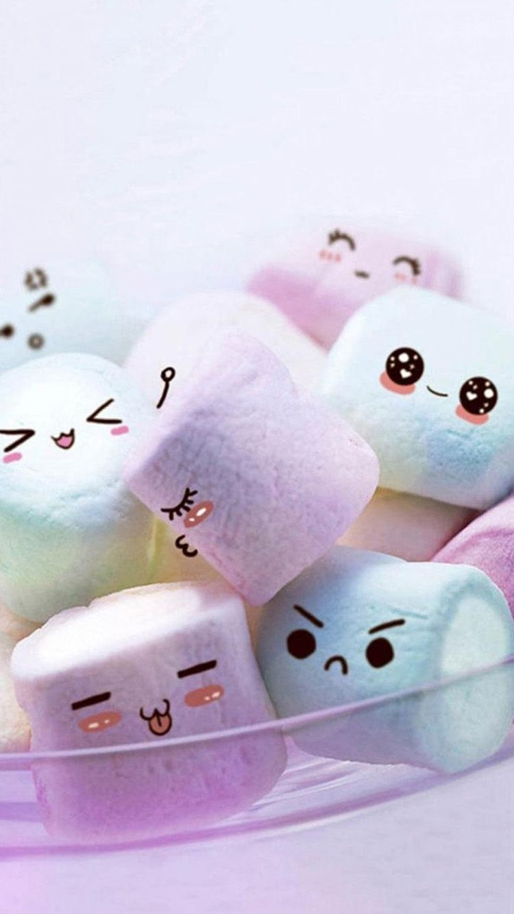 Tap And Get The Free App Fun Sweets Funny Faces Sweets Purple Cute Delicious Hd Iphone 5 Wal Pretty Wallpaper Iphone Wallpaper Iphone Cute Cute Marshmallows