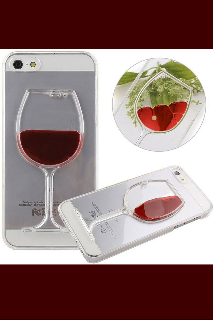 cool wine glass phone case with moving liquid available for most iphone and samsung galaxy
