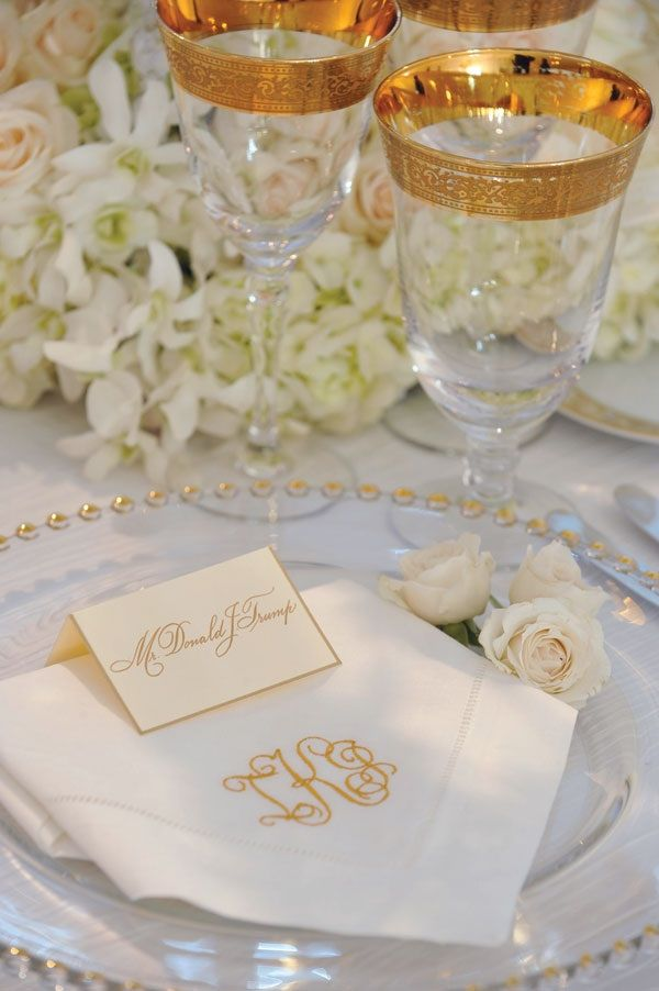 A Close Up Of A Place Setting At Ivanka Trump S Wedding Reception