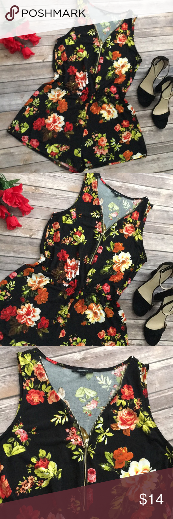 Floral romper Formal shorts romper. Perfect for spring time. Zip up front. Very stretchy. 95% polyester 5% spandex. Shorts